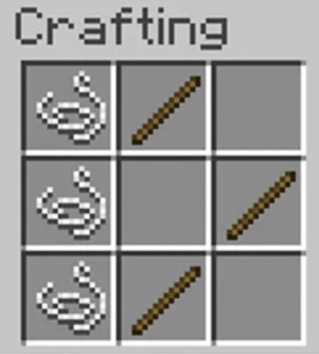 How to Make a Bow in Minecraft - The recipe for a bow.